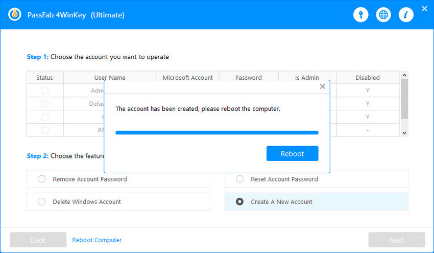 create account successfully