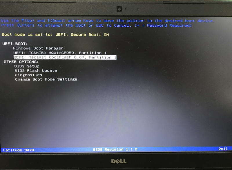 boot from usb uefi