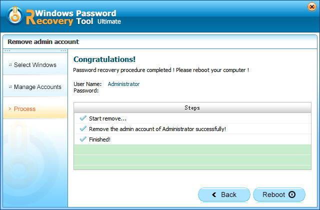 remove windows password successfully