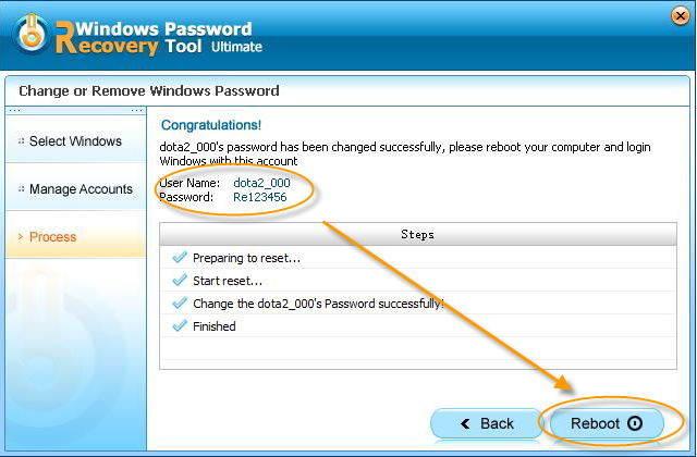 resete windows password successfully